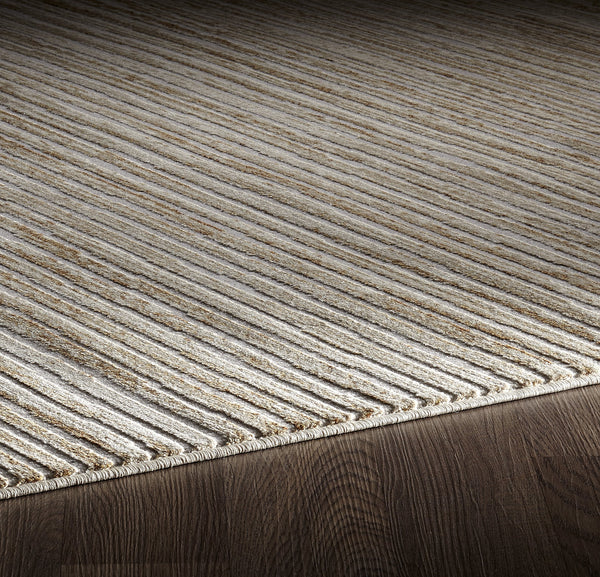 Muted Grey Ivory Striped Abstract Rug