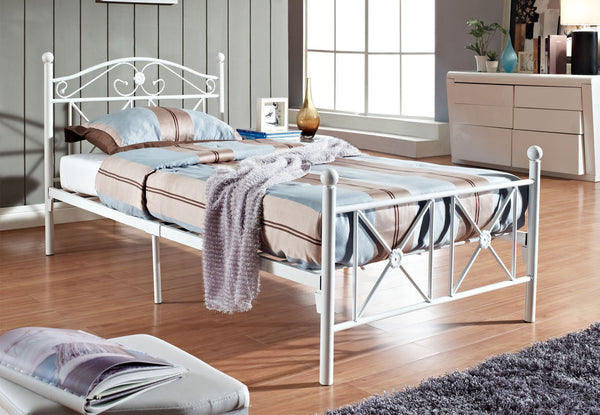 White Twin Bed Metal Frame with Metal Piping Design