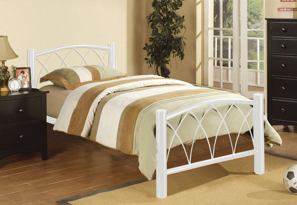 White Metal Bed Frame with Arching Metal Design