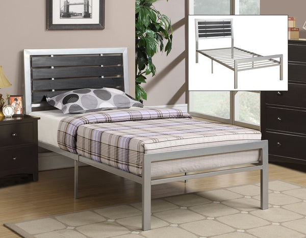 Silver Metal Frame Bed with Espresso Wood Panel Headboard