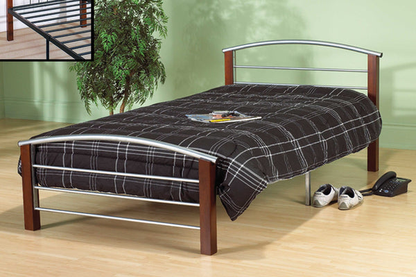 Silver Metal and Dark Cherry Post Platform Bed