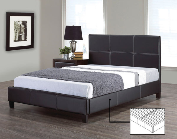 Black Leatherette Platform Bed with Contrast Stitching