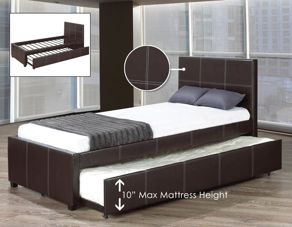 Black Leatherette Trundle Bed with White Contrast Stitching