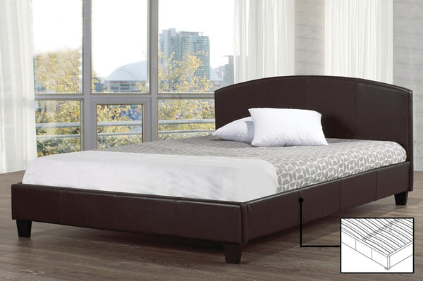 Slightly curved-panel leatherette covered platform bed