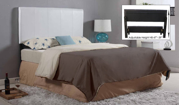 White / Espresso Adjustable Height Leatherette Headboard