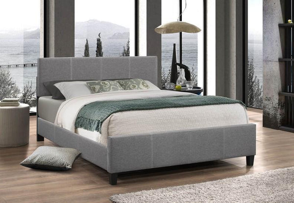 Light Grey Fabric Platform wide Bed with Adjustable Height Headboard