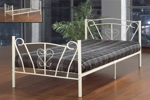 White Metal Platform Bed with Cursive Design