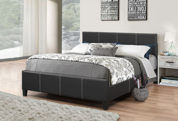 Black Leatherette Platform wide Bed with Adjustable Height Headboard