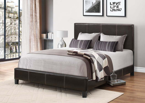 Espresso Leatherette Bed with Adjustable Headboard