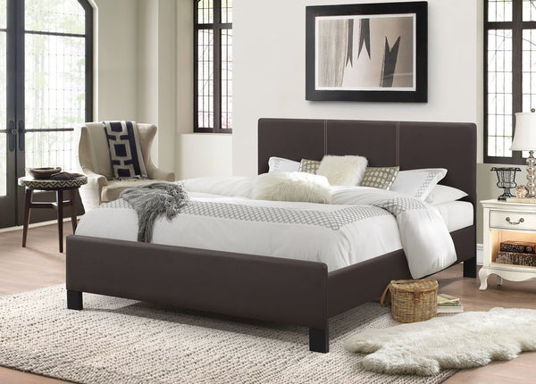 Espresso Leatherette Platform Bed with Contrast Stitching