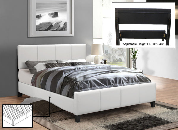 White Leatherette Platform wide Bed with Adjustable Height Headboard