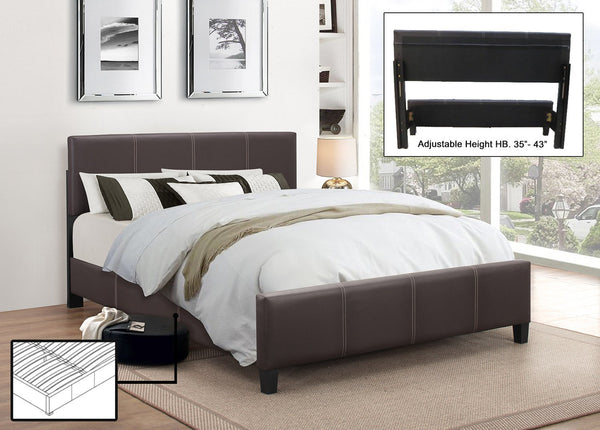Espresso Leatherette Platform wide Bed with Adjustable Height Headboard