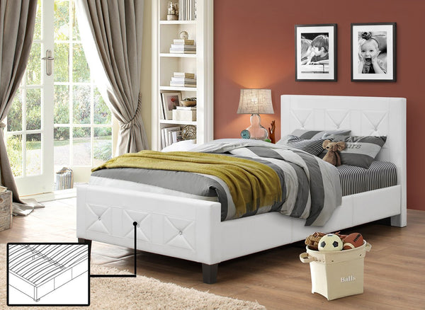 White Leatherette Platform Bed with Crystals