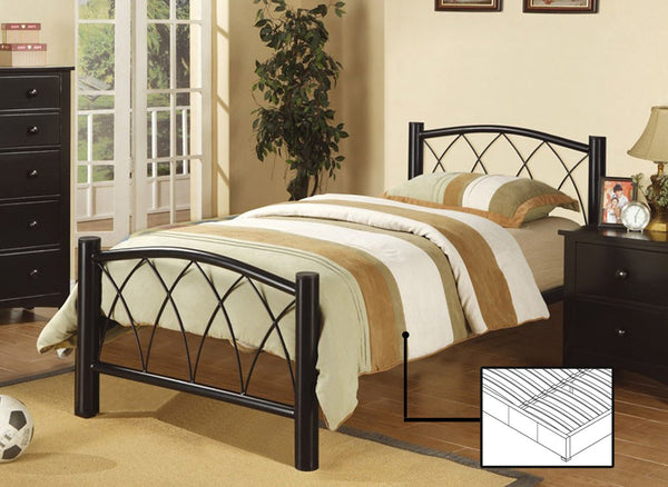Black Metal Platform bed with Criss-Cross design