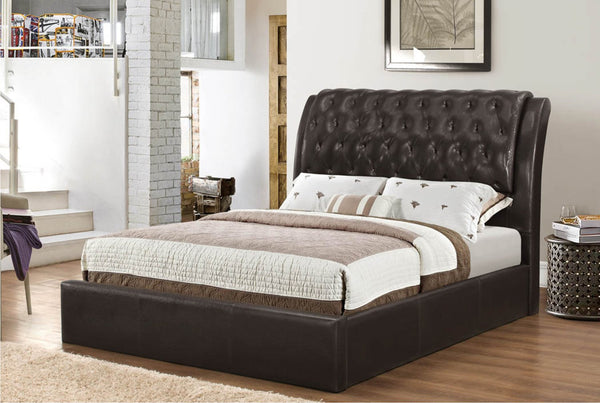 Espresso Lavish Bonded Leather Platform bed