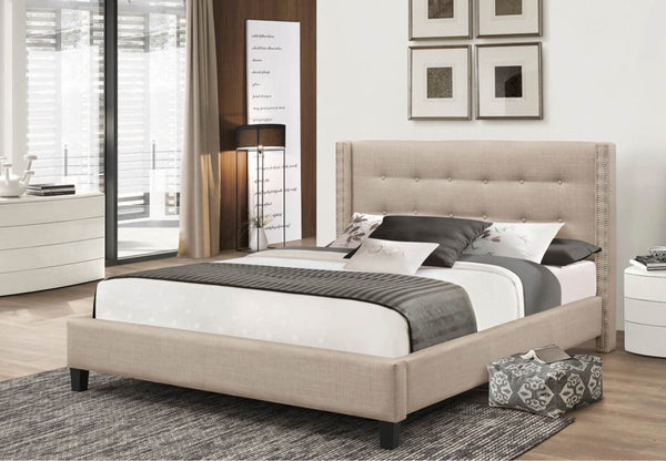 Wing Platform Bed with tufted headboard and nail head detail (Grey/Beige)