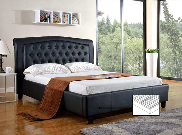 Black Thick Bonded Leather platform bed with plush and tufted headboard