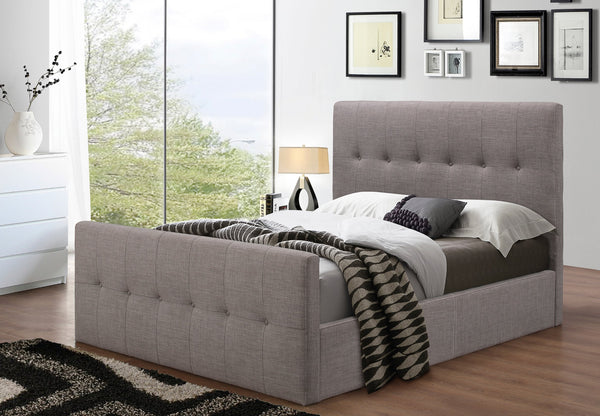 Grey Fabric Platform Bed with High Profile Footboard
