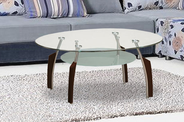 Circular Coffee Table with Hybrid Chrome/Espresso Legs