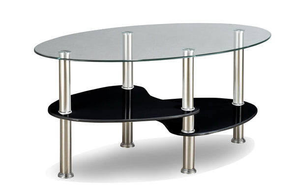 Black Oval Frosted Glass Coffee Table with Chrome Legs