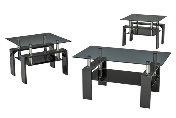 Modern Coffee Table set with smoked Glass top, and Glossy Black Legs