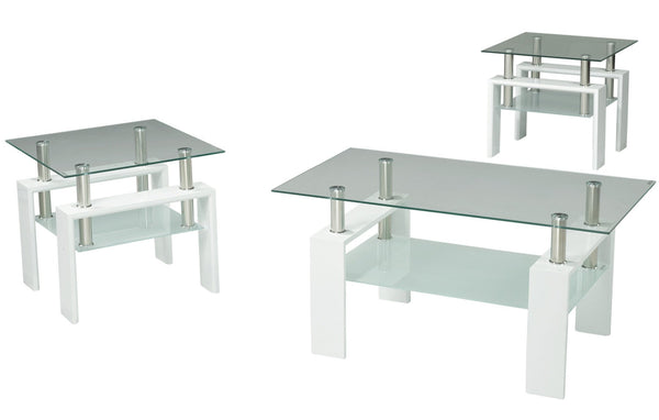 Modern Coffee Table set with Glossy White Legs