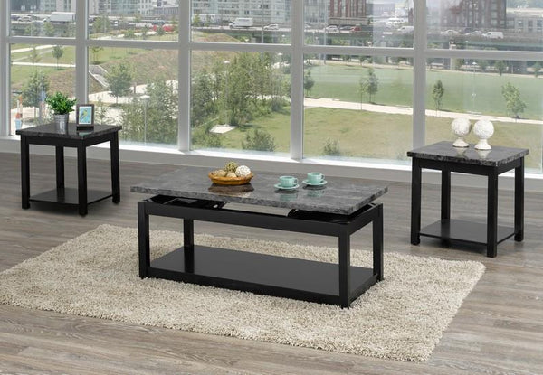 Lift-able  Black Coffee Table Set With Dark Grey Marble Top