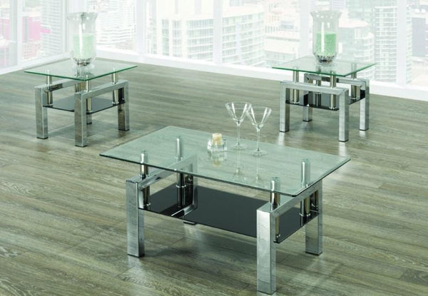 3 Piece Glass Top Coffee Table Sets.Coffee Table Set With 8mm Tempered Clear Glass A Black Bottom Glass And Chrome Legs