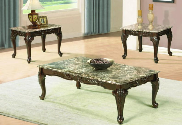 Light Marble Coffee Table Set with Antique Engraved Design