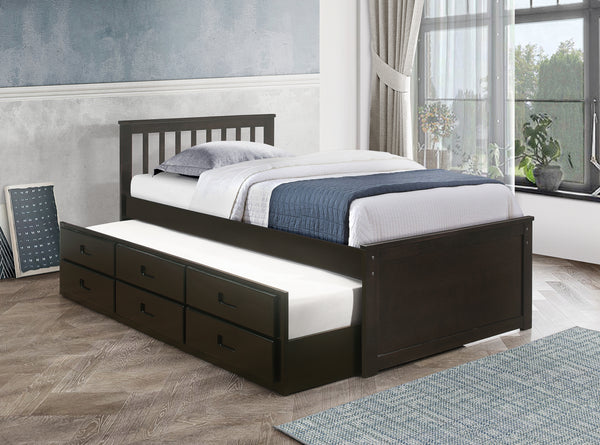 Espresso Solid Wood Bed with Trundle and 3 Pullout Drawers