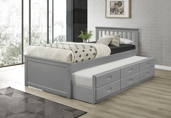 Grey Solid Wood Bed with Trundle and 3 Pullout Drawers
