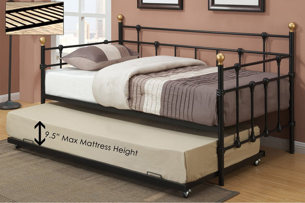 Black Simple Metal Platform Day Bed with Gold Accents and Trundle Option
