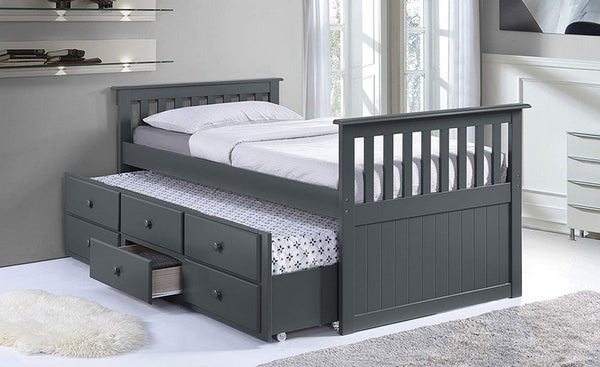 Grey Solid Wood Captain Bed with Trundle and 3 Pullout Drawers