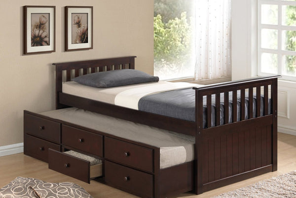 Espresso Solid Wood Captain Bed with Trundle and 3 Pullout Drawers