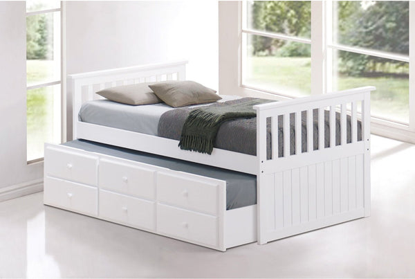 White Solid Wood Captain Bed with Trundle and 3 Pullout Drawers