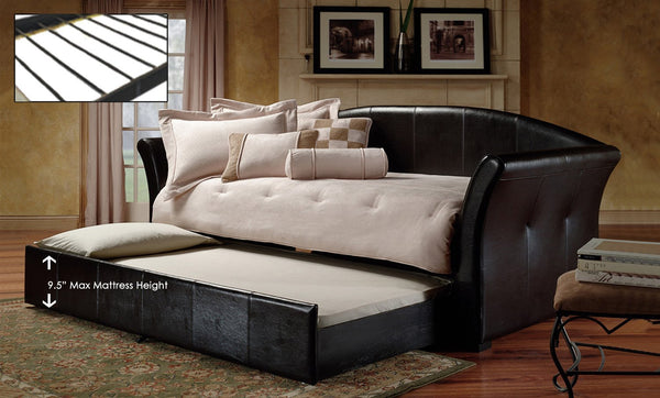 Black Single Leatherette Day Bed with Pullout trundle
