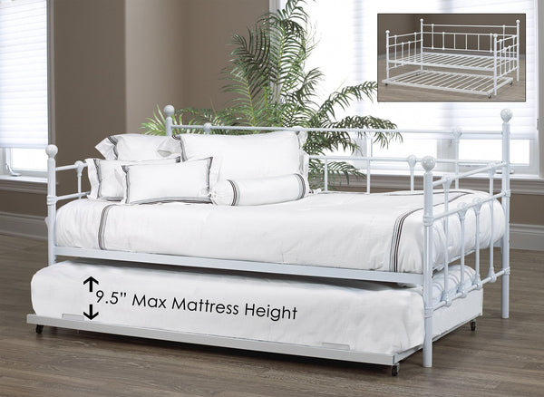 White Simple Metal Platform Day Bed with Trundle Option
