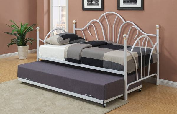 Stylish White Metal Peacock Day Bed with Trundle Option