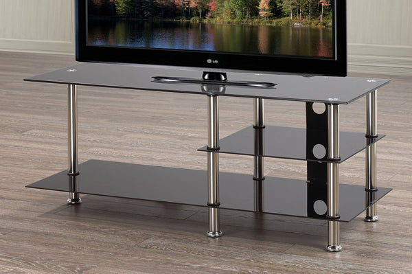 Black Tempered Glass TV Stand with left side Shelf