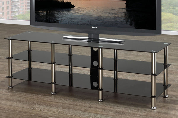 Black Glass TV Stand With 3 Shelves and Chrome Legs