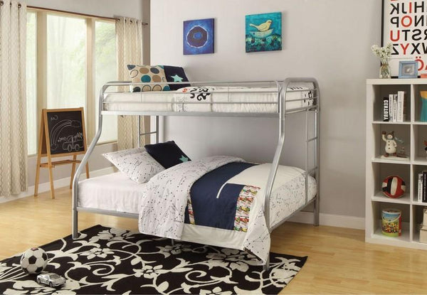 Space Saving Grey Single/Double Steel Platform Bunkbed