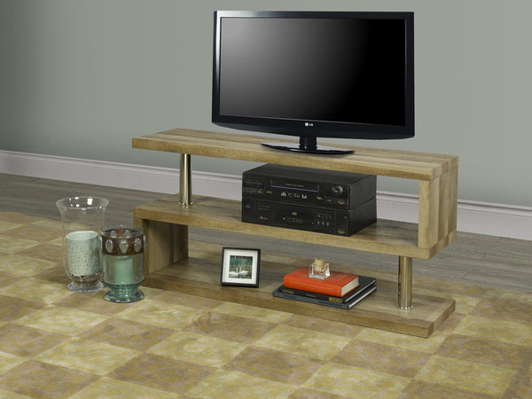 Natural/Espresso Wood Modern Style TV Stand