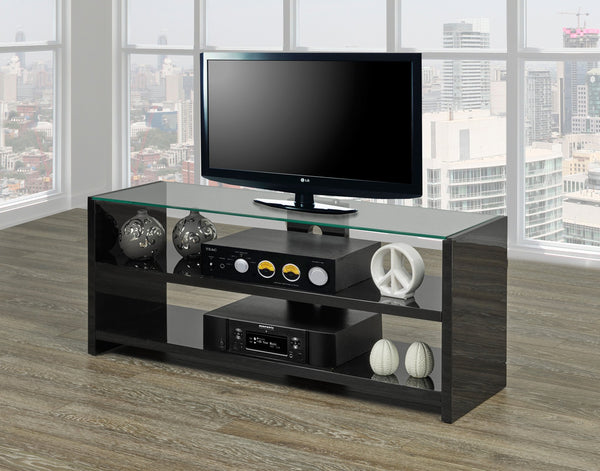 Black/White High Gloss TV Stand with clear Glass Top