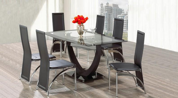 Tempered Black Trim Table Top Glass with Metal Base and Black Leatherette Chairs