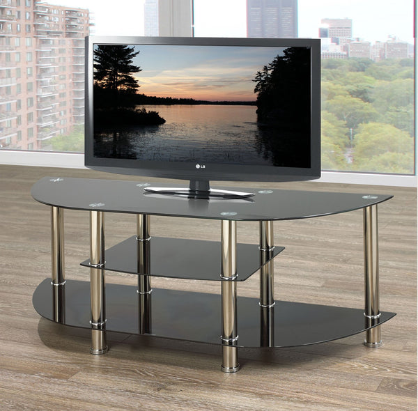 Rounded TV Stand with Black glass and Chrome Legs
