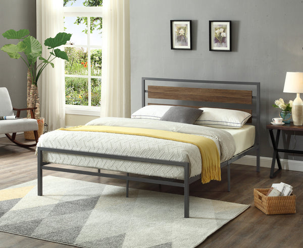 Low-key Wood Panel Bed with Grey Steel Frame