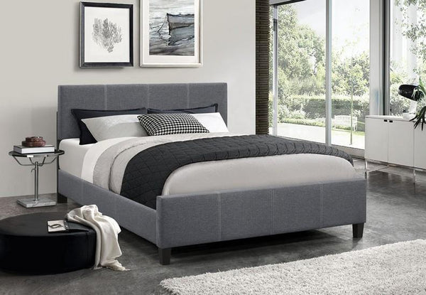Dark Grey Fabric Platform wide Bed with Adjustable Height Headboard
