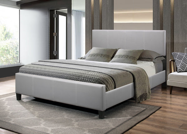 Grey Platform PU Bed with Adjustable Headboard and Contrast Stitching