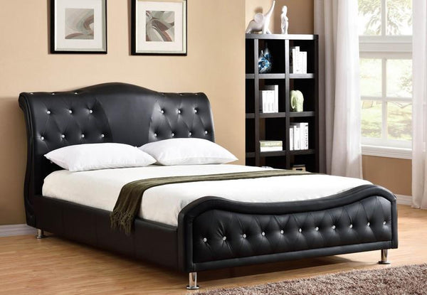 Black Leatherette Bed With Rhinestone Jewels