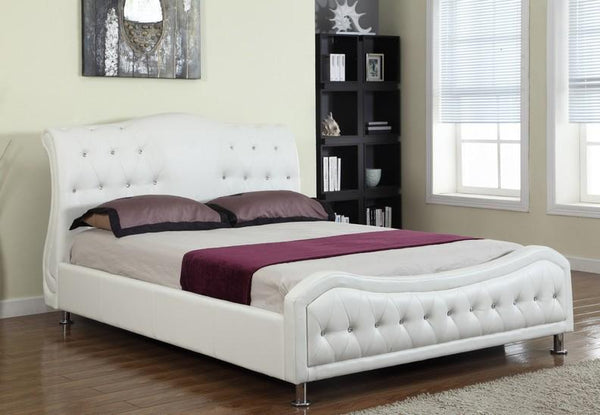 White Leatherette Bed With Rhinestone Jewels